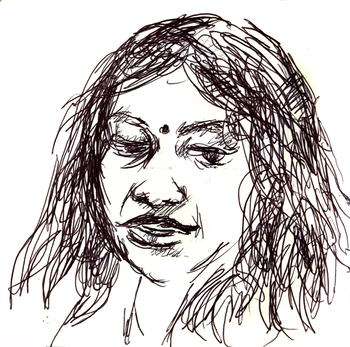 Poet Darshita Jain, drawn by Dimitry Samarov - click to view - mousewheel to zoom